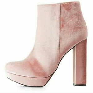 Pink velvet ankle booties 🌟NEVER BEEN WORN🌟